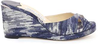 Jimmy Choo ALMER 80 Stone Blue Jacquard Denim Sandal Mules with Covered Wedge