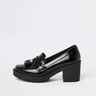 River Island Black chunky tassel block heel loafers