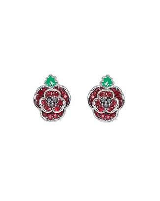 Fashion World Rhodium plated crystal Poppy earrings