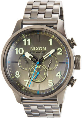Nixon 46mm Safari Dual Time Bracelet Watch, Gunmetal