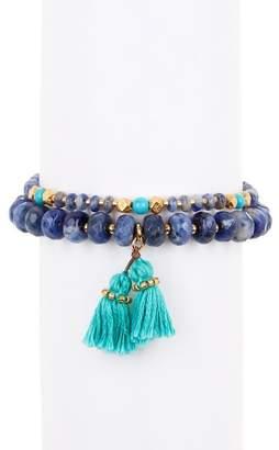 Chan Luu Stone Beaded Double Strand Tassel Bracelet