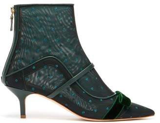 Malone Souliers Claudia Mesh And Leather Ankle Boots - Womens - Dark Green