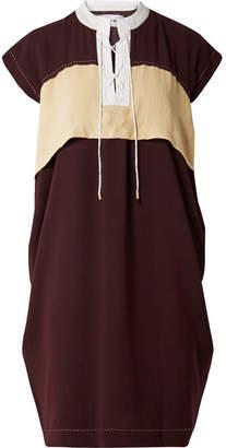 Carven Color-block Lace-up Crepe Dress - Burgundy