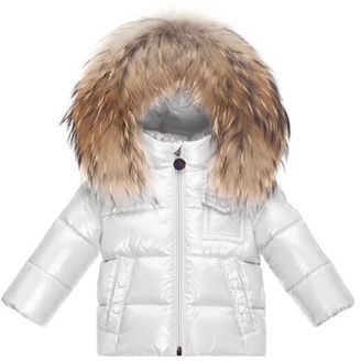 Moncler K2 Hooded Fur-Trim Puffer Coat, Size 12M-3 $475 thestylecure.com