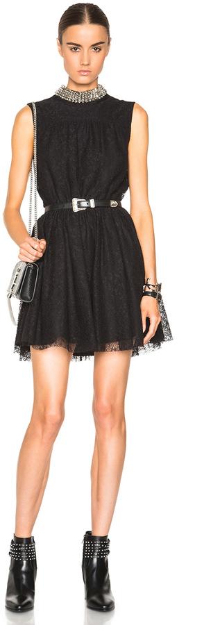 Saint LaurentSaint Laurent Embellished Neck Lace Dress