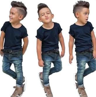 NANYUAYAKY Baby Boys Solid Black T-Shirt Tops+Denim Long Pants 2Pcs Kids Outfit Sets Size