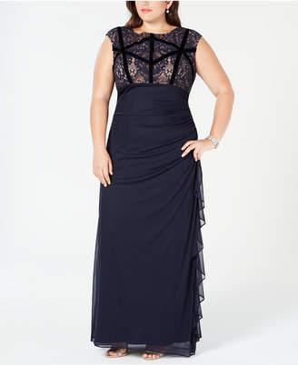 Betsy & Adam Plus Size Velvet-Trim Lace Gown
