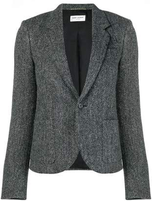 Saint Laurent cropped herringbone blazer