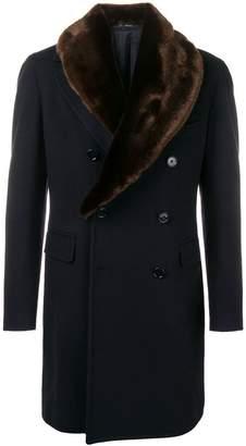Tagliatore double-breasted fur collar coat