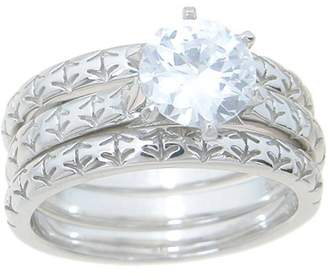 Plutus Brands 1.25 Carat T.G.W. Round-Cut CZ Sterling Silver High-Polish Double-Band Antique Wedding Style Ring Set