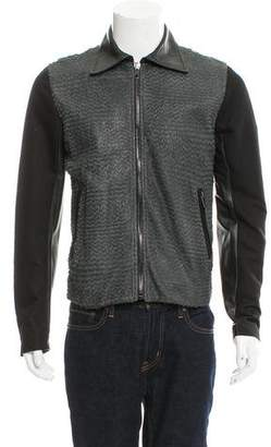Diesel Black Gold Textured Leather Jacket w/ Tags