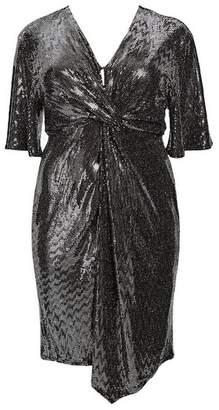 Evans Silver Wrap Embellished Dress