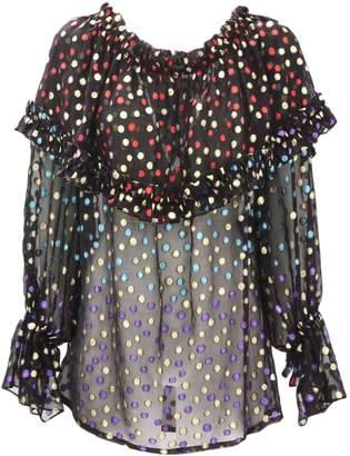 Saint Laurent Black Silk Gypsy Blouse With Smocked Shoulders.