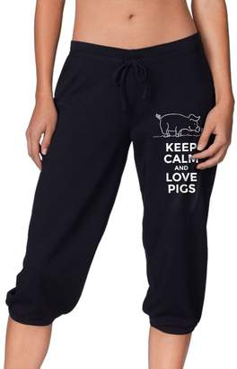 Cloud Up Keep Calm and Love Pigs Print Pants for Women Tank Top with Capri Jogger Sweatpants