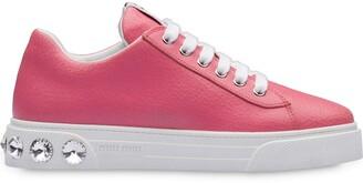 Miu Miu embellished heel leather sneakers