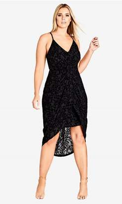 City Chic Citychic Mod Drape Dress - Black