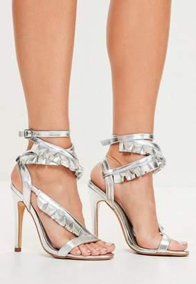 Missguided Silver Asymmetric Ruffle Sandals