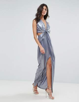 Asos DESIGN Metallic Cami Twist Front Maxi Dress