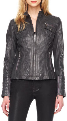 MICHAEL Michael Kors Fitted Leather Jacket