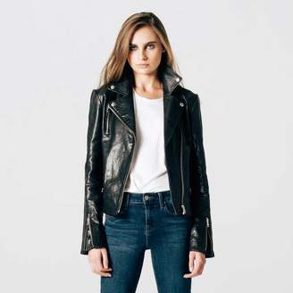 DSTLD Womens Leather Moto Jacket with Silver Hardware