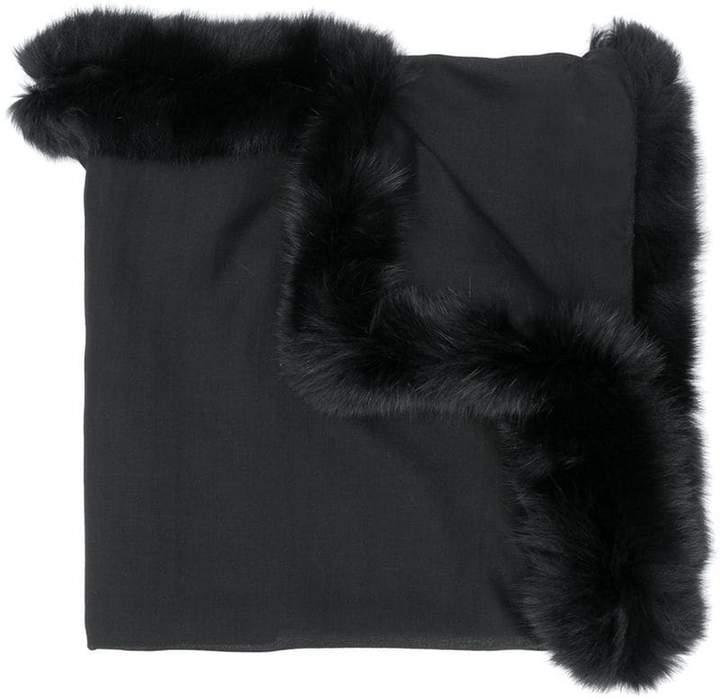 Valentino oversized fur-trim scarf