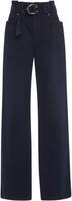 Atelier Jean Belted High-Rise Wide-Leg Jeans
