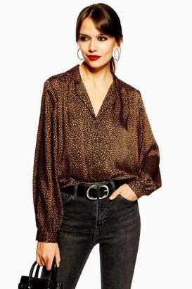 5133b44181ccab Topshop Womens Petite Animal Print Spot Shirt