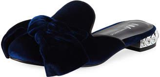 Neiman Marcus Smith Flat Velvet Mule