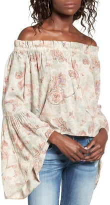 Women's Sun & Shadow Bell Sleeve Off The Shoulder Blouse $49 thestylecure.com
