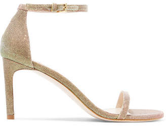 Stuart Weitzman Nudist Metallic Lamé Sandals - Gold