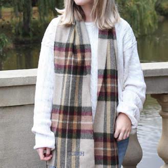 Marquis & Dawe Personalised Camel Check Wool Scarf