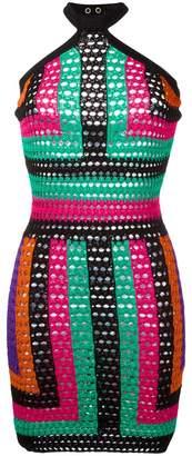 Balmain patterned halterneck crochet dress