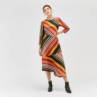 Warehouse Honey Stripe Midi Dress