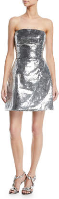Monique Lhuillier Strapless Sequined Cocktail Dress