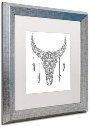 """Buffalo David Bitton Trademark Global Filippo Cardu 'Buffalo Skull' Matted Framed Art, 16"""" x 16"""""""