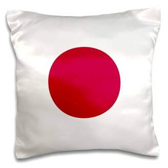 3dRose Flag of Japan square - Japanese Red sun disc dot circle on white - Nisshoki Hinomaru - world country - Pillow Case, 16 by 16-inch