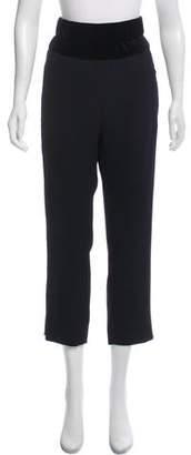 The Kooples Velvet-Trimmed High-Rise Pants