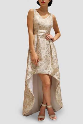 SoZu Asymmetric Brocade Dress