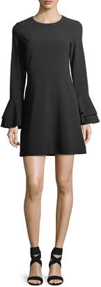 Parker Orlando Jewel-Neck Trumpet-Sleeve Mini Dress