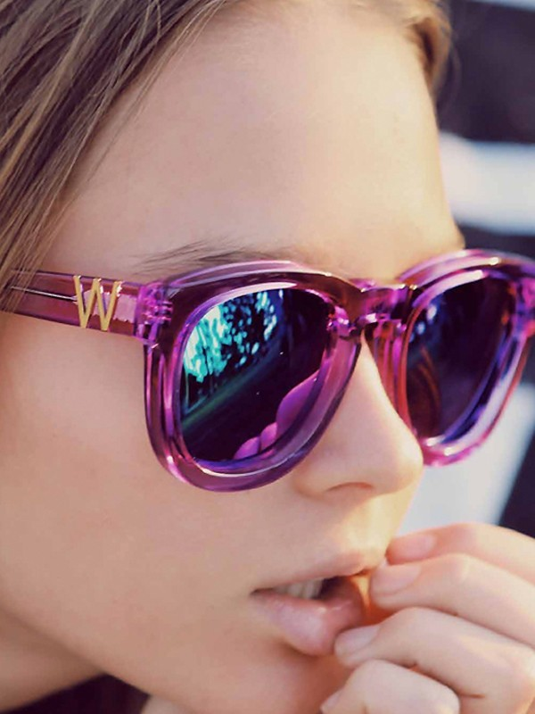 Wildfox Couture Sun Classic Fox Sunglasses in Purple Mirror as seen on Alessandra Ambrosio