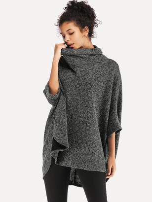 Shein Asymmetrical Batwing Sleeve High-Neck Jumper