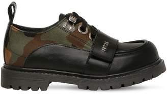 N°21 Leather & Camo Nylon Lace-Up Shoe