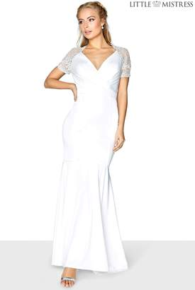 Next Womens Little Mistress Lace Sleeve Wrap Front Bridal Maxi Dress