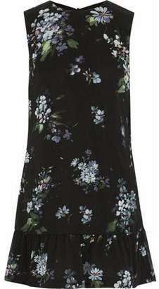 RED Valentino Tie-Back Floral-Print Stretch-Silk Mini Dress