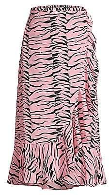 Rixo Women's Gracie Tiger Print Silk Wrap Midi Skirt