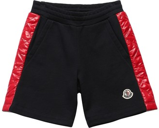 Moncler Cotton Sweat Shorts W/ Nylon Bands