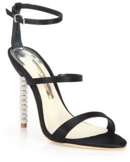 Sophia Webster Rosalind Crystal-Heel Satin Sandals