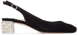 Sophia Webster Black Suede Alice Slingback Heels