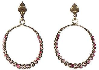 Sous le sable Médaille Brass Spike Earrings with Swarovski Crystals Ruby-Singapore