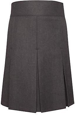 John Lewis & Partners Girls' Adjustable Waist Stitch Down Pleated School Skirt, Grey